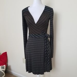 Bailey 44 Gray Striped Stretch Career Wrap Dress